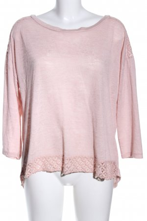 ambra Rundhalspullover pink meliert Casual-Look
