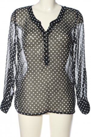 Ambria Long Sleeve Blouse black-white allover print casual look