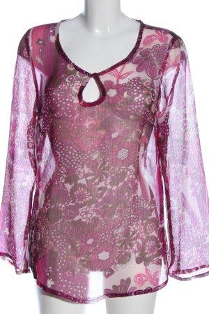 Ambria Blouse met lange mouwen roze-wit volledige print casual uitstraling
