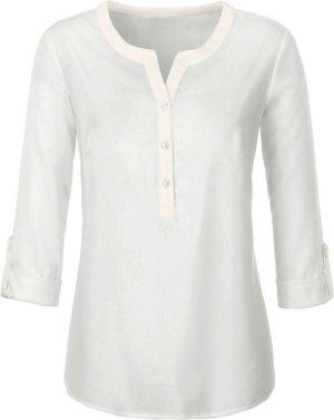 Ambria: neue Bluse mit kurzer Knopfleiste, Ärmel zum Krempeln, Farbe ecru, Gr. 46