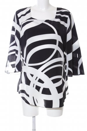 Ambria Selection Lange blouse wit-zwart abstract patroon casual uitstraling