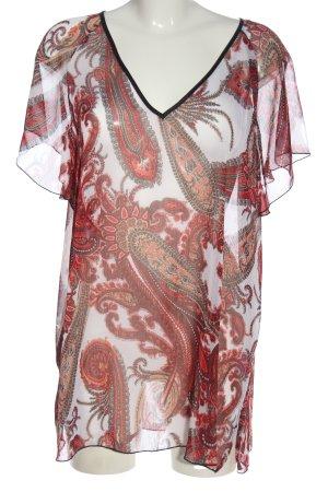 Ambria Selection Blouse transparente blanc-rouge motif abstrait