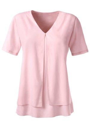 AMBRIA:  Shirt im Layer-Look, Kurzarm, V-Ausschnitt, Kellerfalte vorne, Farbe Apricot, Größe 44