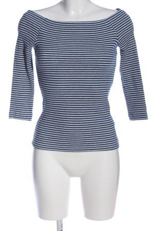 America Today Blusa de manga larga azul-blanco estampado a rayas look casual
