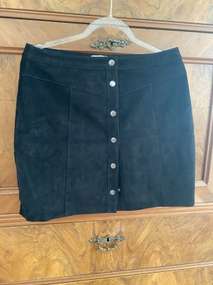 America Today Leather Skirt black-silver-colored leather
