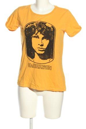America Today Camiseta estampada naranja claro-negro estampado temático