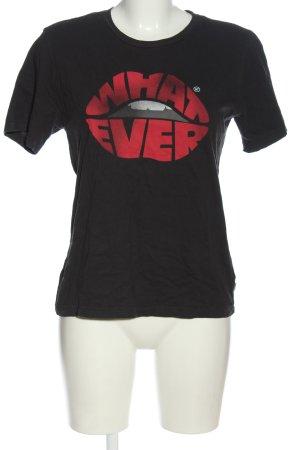 America Today Camiseta negro-rojo letras impresas look casual