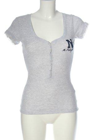 America Today T-shirt col en V gris clair moucheté style décontracté