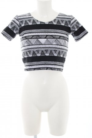 American Apparel Cropped top zwart-wit grafisch patroon casual uitstraling