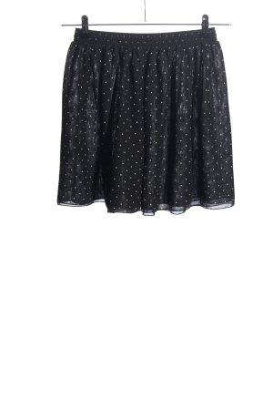American Apparel Falda de talle alto negro-blanco estampado a lunares