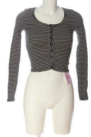 American Apparel Veste en tricot noir-crème motif rayé style décontracté