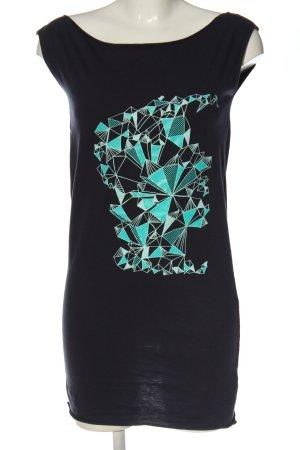 American Apparel Haut long noir-turquoise motif graphique style décontracté