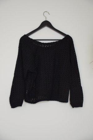 AMERICAN APPAREL - Oversize Pullover mit schwarzer Spitze