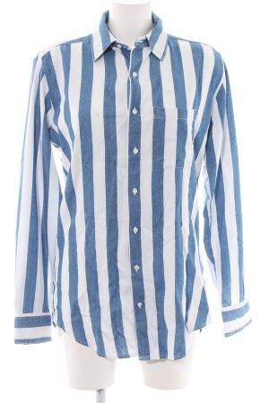 American Apparel Oversized Bluse blau-weiß Streifenmuster Business-Look