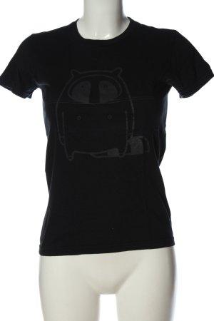 American Apparel Print-Shirt schwarz Motivdruck Casual-Look