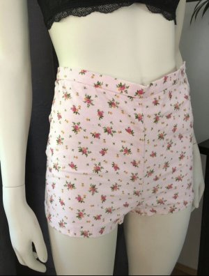 American Apparel Shorts Highwaist Xs Rosa Blumen Kord Hotpants