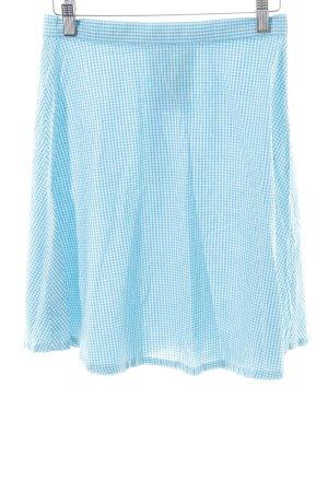 American Apparel Falda de patinador blanco-azul estampado a cuadros look casual