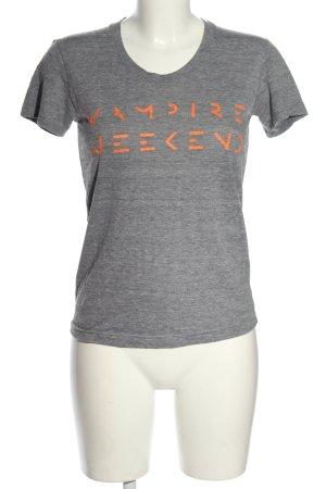 American Apparel T-shirt gris clair-orange clair moucheté style décontracté