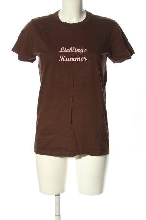 American Apparel T-Shirt braun Schriftzug gedruckt Casual-Look