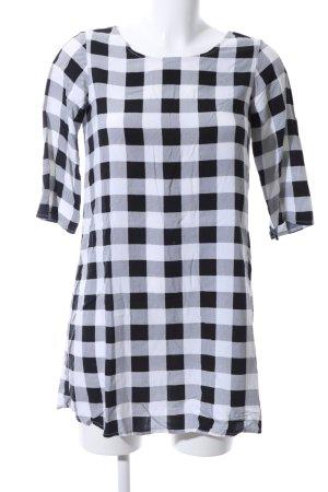 American Apparel Tunikabluse schwarz-weiß Karomuster Casual-Look