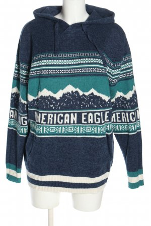 american eagle Hooded Sweater themed print casual look