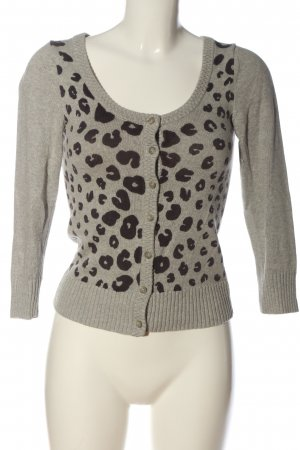 American Eagle Outfitters Cardigan hellgrau-schwarz Animalmuster Casual-Look