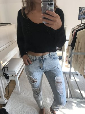 American Eagle Outfitters Crop Top Pullover Schwarz Strick / Strickpullover, preppy blogger / boho, stylish
