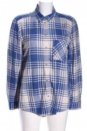 American Eagle Outfitters Flanellhemd wollweiß-blau Karomuster Casual-Look