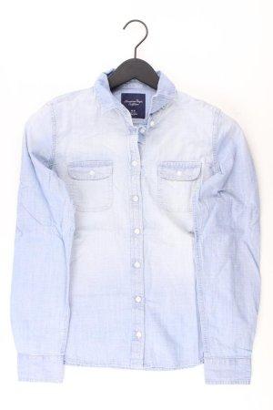 American Eagle Outfitters Jeansbluse Größe M Langarm blau aus Baumwolle