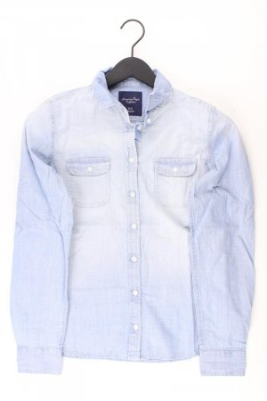 American Eagle Outfitters Denim Blouse blue-neon blue-dark blue-azure cotton