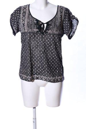 American Eagle Outfitters Blouse met korte mouwen zwart-wolwit volledige print