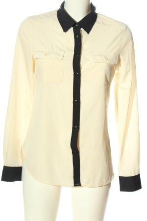 American Eagle Outfitters Shirt met lange mouwen room-zwart zakelijke stijl