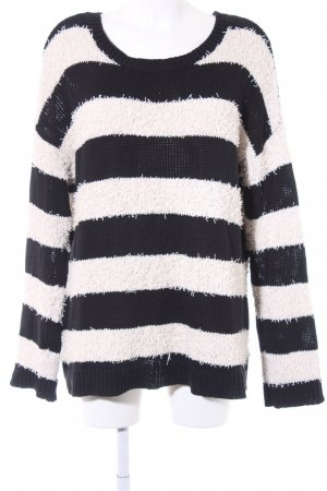 American Eagle Outfitters Oversized Sweater natural white-black striped pattern
