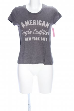 American Eagle Outfitters Print-Shirt hellgrau meliert Casual-Look