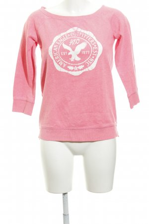 American Eagle Outfitters Rundhalspullover weiß-neonpink Motivdruck Casual-Look