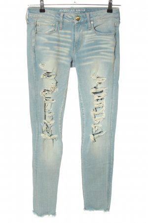 American Eagle Outfitters Slim Jeans blau-creme Casual-Look