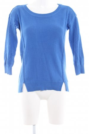 American Eagle Outfitters Strickpullover stahlblau Lochstrickmuster Casual-Look