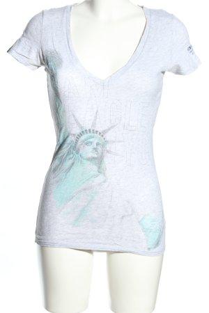 American Eagle Outfitters Camiseta gris claro estampado temático look casual