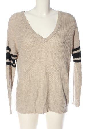 American Eagle Outfitters V-Ausschnitt-Pullover wollweiß-schwarz Streifenmuster