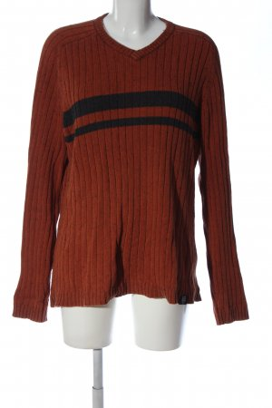 American Eagle Outfitters V-Neck Sweater red-black striped pattern casual look