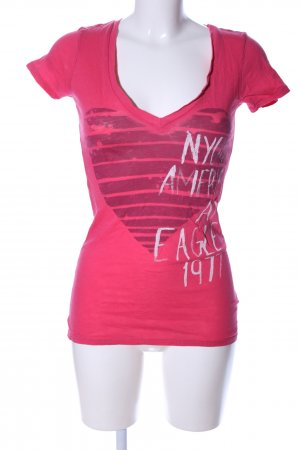 American Eagle Outfitters V-hals shirt roze-wit prints met een thema