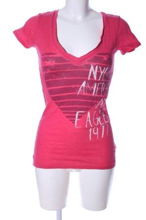 American Eagle Outfitters T-shirt col en V rose-blanc imprimé avec thème