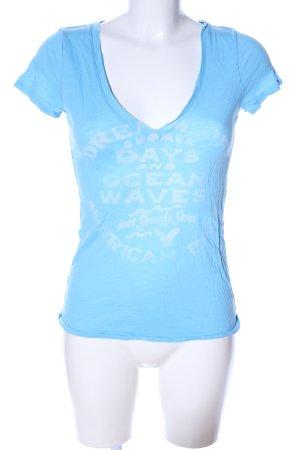 American Eagle Outfitters V-Ausschnitt-Shirt blau Schriftzug gedruckt