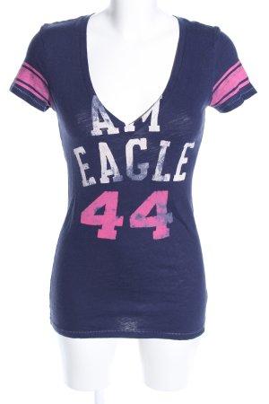 American Eagle Outfitters V-Ausschnitt-Shirt Schriftzug gedruckt Casual-Look