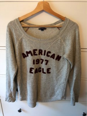 American Eagle Outfitters Crewneck Sweater light grey-bordeaux