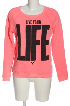 american eagle Sweat Shirt pink-black printed lettering casual look