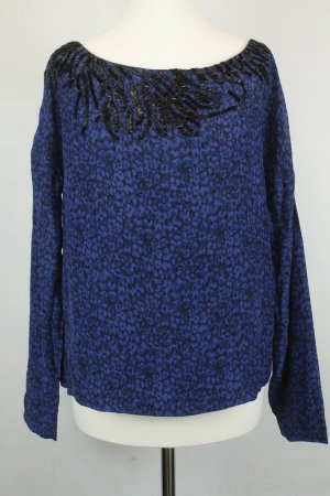 American Retro Silk Blouse black-blue silk
