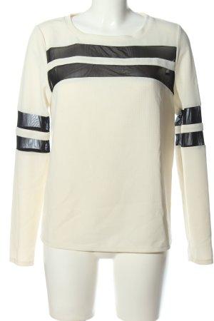 American Retro Blouse à manches longues blanc-noir motif rayé
