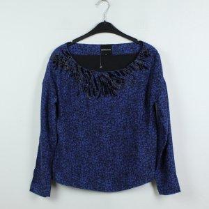 American Retro Blusa de seda azul oscuro-negro Seda