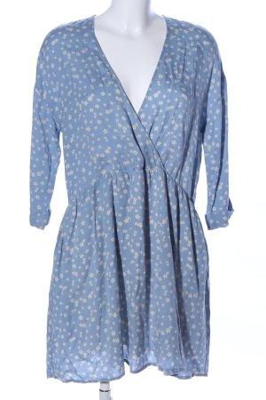 American Vintage Blousejurk blauw-wit bloemenprint casual uitstraling